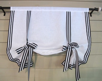 "White Linen with Black White Stripe Gross Grain Ribbon Trim 48"" Long Stage Coach Blind Swedish Roll Up Shade Tie Up Curtain"