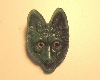 Two Vintage Green Glass Fox Buttons - 1900, Rare Button, Unusual Buttons -  Reserved for Sukaro - Balance Due