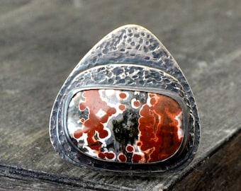 Fire jasper ring, metalwork sterling silver ring, rustic gemstone ring, size 7 - Ragnarok