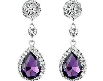 Wedding Bridal Bridesmaid Gift Big waterdrop sparkle Amethyst Purple Rhinestone Crystal cluster silver plated Earrings with custom cards box