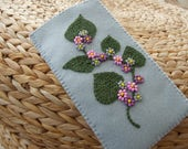 Hand Embroidered and Beaded Pale Grey Felt Glasses Case
