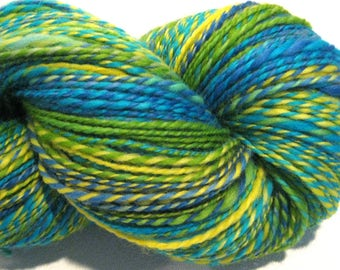 Handspun yarn, Just Keep Swimming, worsted weight, 2 ply, 400 yards, BFL wool yarn,  knitting supplies, blue, green, yellow crochet supplies