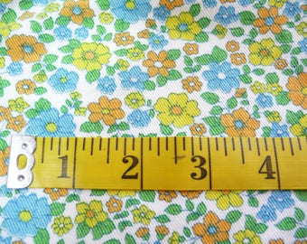 Vintage Denim Fabric, Flowered Fabric, Bright Colored Flowers, Scrap Fabric, Purse Fabric, Blue Yellow Orange Green, Sewing Supplies, Retro