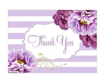 Digital Printable Thank You Note Bridal Shower with Purple Flowers on Lavender TYB003