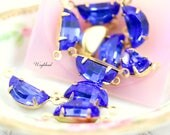 Vintage Glass Half-Moon Stones 2 Rings Connector Brass Prong Settings Sapphire 10x5mm - 6