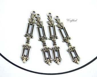 Art Deco Style Column Leaves Antique Brass Drop Charms - 6