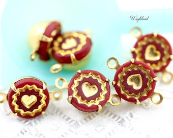 Vintage Round Glass Set Stones Connector Drop Dangle Gold & Red 9mm - 4