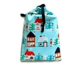 Christmas Planner Cover Drawstring Bag Blue Christmas Pouch Christmas Gift Bag Holiday City Christmas Town North Pole Holiday Small Tote