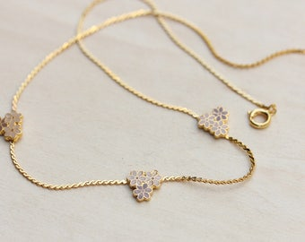 Flower Necklace Gold, Enamel Flower Necklace, Gold Chain Necklace, Gold Collar Necklace, Flower Cluster Necklace, Gold Flower Necklace