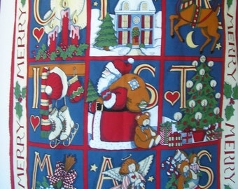 Merry Christmas Wallhanging, Door Panel or Quilt Top Cotton Fabric Panel
