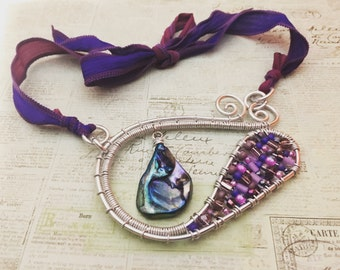 Aluminum, wire-wrapped, allergy free, purple, beaded, silk, ribbon tie, abalone shell, statement necklace