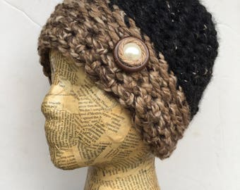 Crocheted, Beanie, Hat, Camel, Black, Brown, Tweed Yarn with Removable Pearl, Jute, and Button Pin