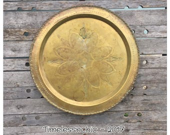 Large Brass Tray - Vintage Brass Tray- Brass Tabletop - Decorative Tray - Ottoman Tray - Circular Tray - Moroccan Tray - Etched Brass Tray -