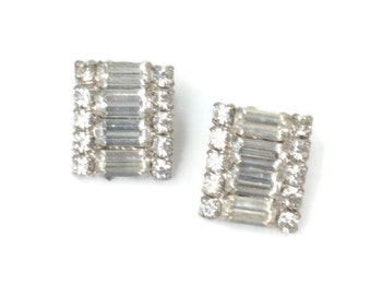 Baguettes and Chatons Rhinestone Earrings Wedding Special Occasion Vintage