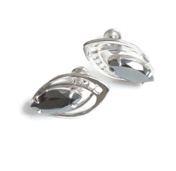 Sterling Silver Hematite Earrings Sorrento Marquise Stone Screw Back Vintage