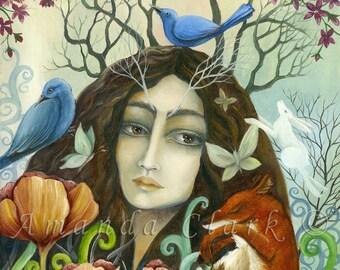 Flower Maiden, Art Print - By Amanda Clark.