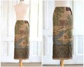 90s Ralph Lauren Country Scenic Skirt  Vintage Lauren Wrap Skirt  Preppy - Dogs - NWT size 6 - 28 inch waist