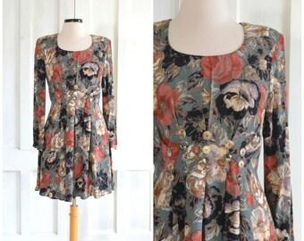 90s Rayon Floral Dress Grunge Mini Dress