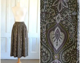 Ellen Tracy Paisley Skirt  80s Midi Skirt  25 inch waist