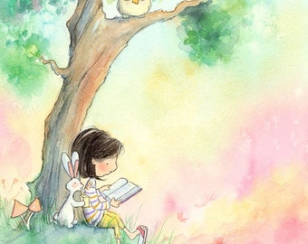 Brunette Girl Reading to Bunny -  Art Print - Children