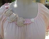 GARAGE SALE... !!  Vintage Kitty 1940's vintage needlework, upcycled tunic dress , roses, lace, ooak, crochet, size large