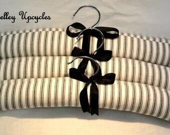 Coat Hanger, Set of 3 Black & White Ticking Padded Coat Hanger, Padded Hangers, Coat Hanger, Handmade Black and White Ticking Coat Hanger