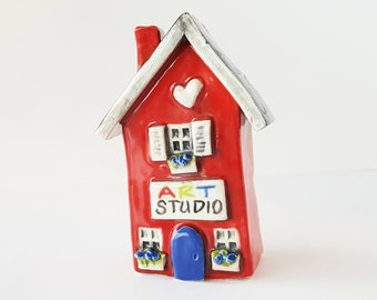 READY TO SHIP | Little Red Art Studio Little Clay House | Whimsical house Artist House | Fairy House Gnome Home Fairy Garden Decoration