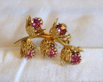 Vintage Pink Rhinestone Brooch Flower Gold Beautiful Spring