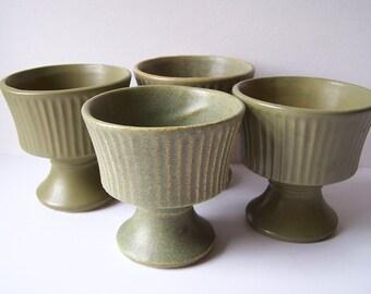 "4.5"" Green Floraline McCoy Pottery Planter Pots #470 - Set of 4"