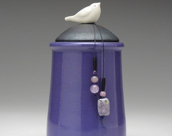 Ceramic Bird jar, purple,black,handmade pottery jar ,home decor,Little Clay Bird on Jar, raku fired art pottery, handmade jar with lid