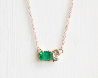 Emerald Clover Necklace // Kelly Green Emerald with Rose Cut Diamond and Mossy Green Sapphire / Emerald Cluster Necklace in 14k Yellow Gold