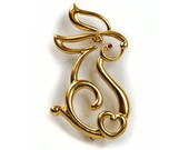 REVISED For vbinko2947 1980s Open Design Gold Tone Sculpture Abstract Bunny Rabbit Outline Vintage Pin Brooch