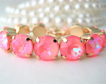Ultra Pink Coral AB Swarovski 48ss Xirius 1088 Chaton Big Stone Bracelet, Neon Summer Color, Rhinestone Bracelet, Gifts For Her