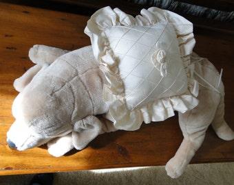 Dog ring bearer pillow dog Ecru silk wedding pet canine attendant bridesmaid ring bearer ivory