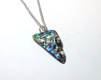 Natural Sparkling Abalone Necklace, Necklace Abalone, Abalone Necklace, Silver Necklace, Spiritcatdesigns