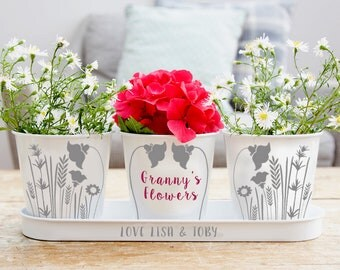 Personalised Floral Tray and Pot