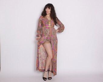 Vintage 70s 2 Piece SET / 1970s Ethnic Print Maxi Dress & Hot Pants Shorts Outfit Xs - S