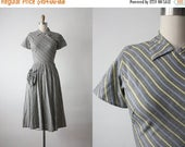 CLEARANCE. striped dress / vintage 1950s dress / 50s dress
