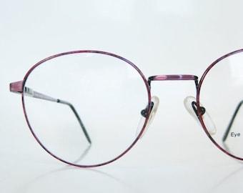 ON SALE Vintage 1980s Round Eyeglasses Dark Rose Metallic Shiny 80s Eighties P3 Womens Ladies Italian Italy Optical Frames Deadstock Nos
