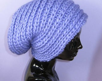 50% OFF SALE Instant Digital File PDF Download Knitting Pattern - Super ChunkySide Rib Slouch Hat