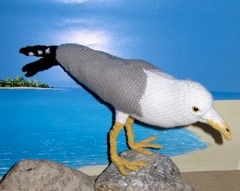 50% OFF SALE Knitting Pattern Only- My Pet Seagull knitting pattern - immediate digital pdf download by madmonkeyknits