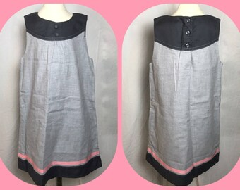 Janie and Jack Cotton Sleeveless Summer Dress in Light and Dark Gray with Pink Ribbon Trim - Size 5