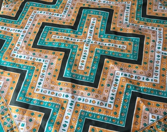 Vintage PAOLI Scarf 1970s Clubs Spades Geometric Green Yellow Patterned Japan