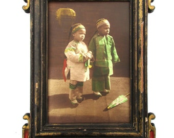 Antique Hand Colored Photo Chinese American Children Asian Frame San Francisco