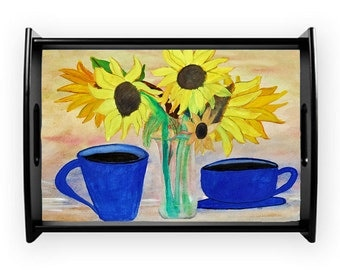 Coffee and sunflowers serving tray from my art, available in 2 sizes