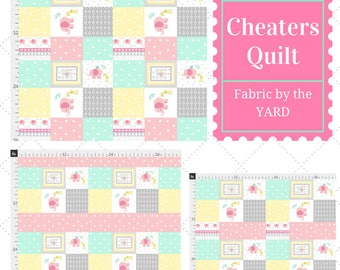 Fabric by the Yard - Cheaters Quilt Elephant Friends Pink, Upholstery, Quilting, Linen, Cotton, Minky, Fleece, Organic Cotton, DIY