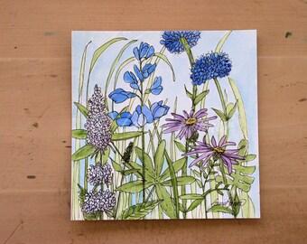 Blue Bachelor Buttons Mint Garden Flower Watercolor Illustration Nature Art