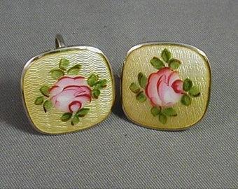 Vintage Guilloche Yellow Screwback Earrings