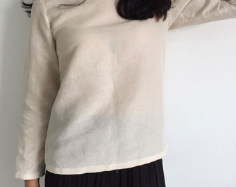 long sleeves blouse/ linen top /In Ivory cream /Gift for her
