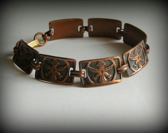 Vintage Kachina Solid Copper Bracelet Southwestern Bracelet
